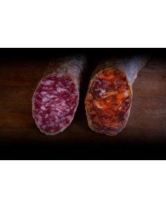 Surtido de Chorizo y Salchichón dos piezas de 500 grs. cada una.